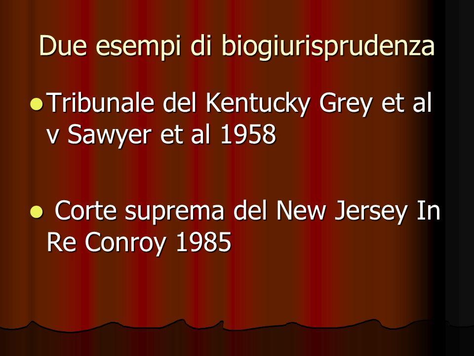 Due esempi di biogiurisprudenza Tribunale del Kentucky Grey et al v Sawyer et al 1958 Tribunale del Kentucky Grey et al v Sawyer et al 1958 Corte supr