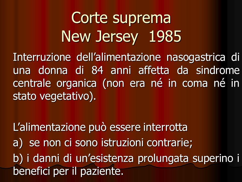Corte suprema New Jersey 1985 Interruzione dellalimentazione nasogastrica di una donna di 84 anni affetta da sindrome centrale organica (non era né in