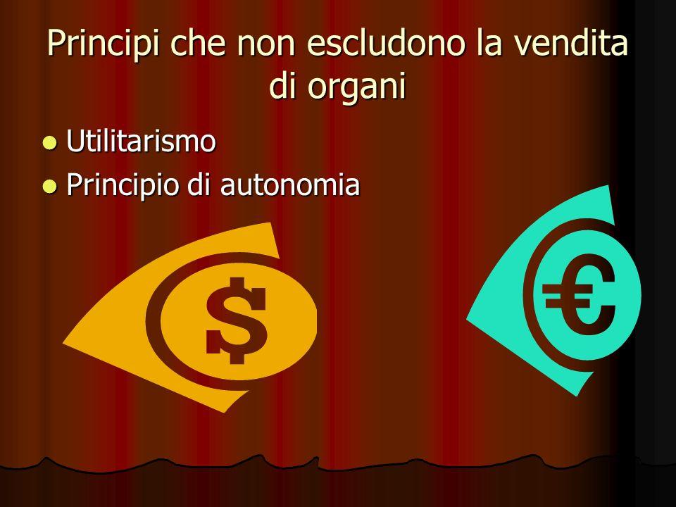 Principi che non escludono la vendita di organi Utilitarismo Utilitarismo Principio di autonomia Principio di autonomia