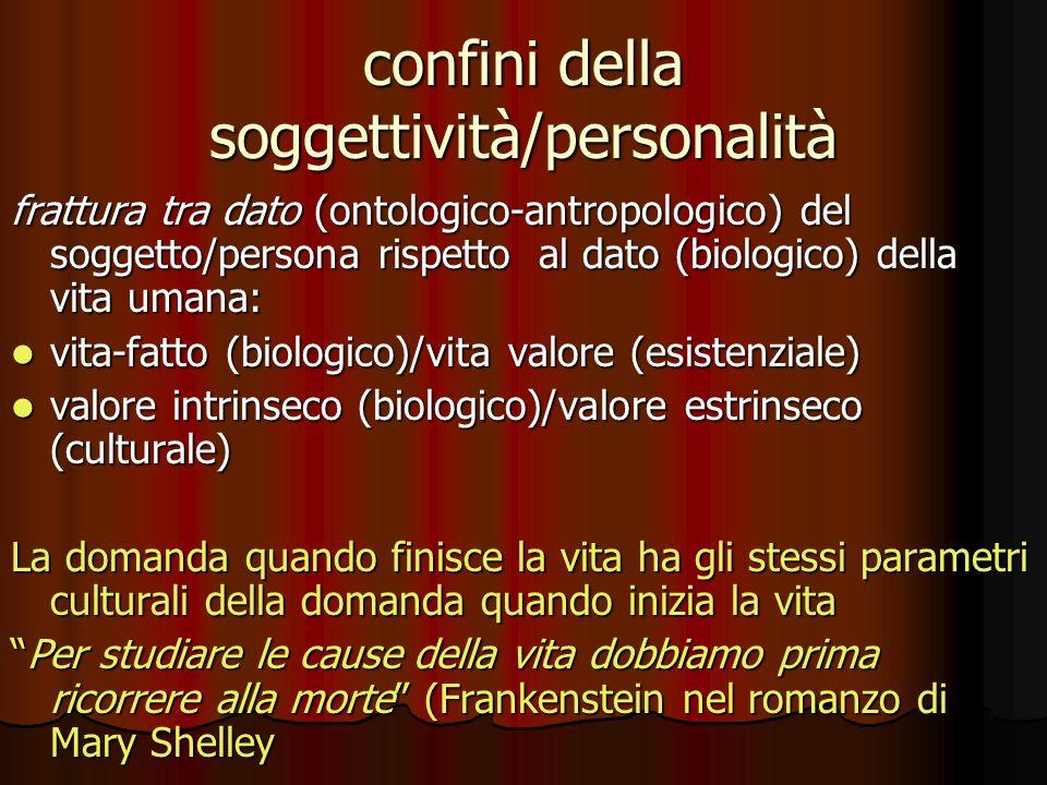 confini della soggettività/personalità frattura tra dato (ontologico-antropologico) del soggetto/persona rispetto al dato (biologico) della vita umana