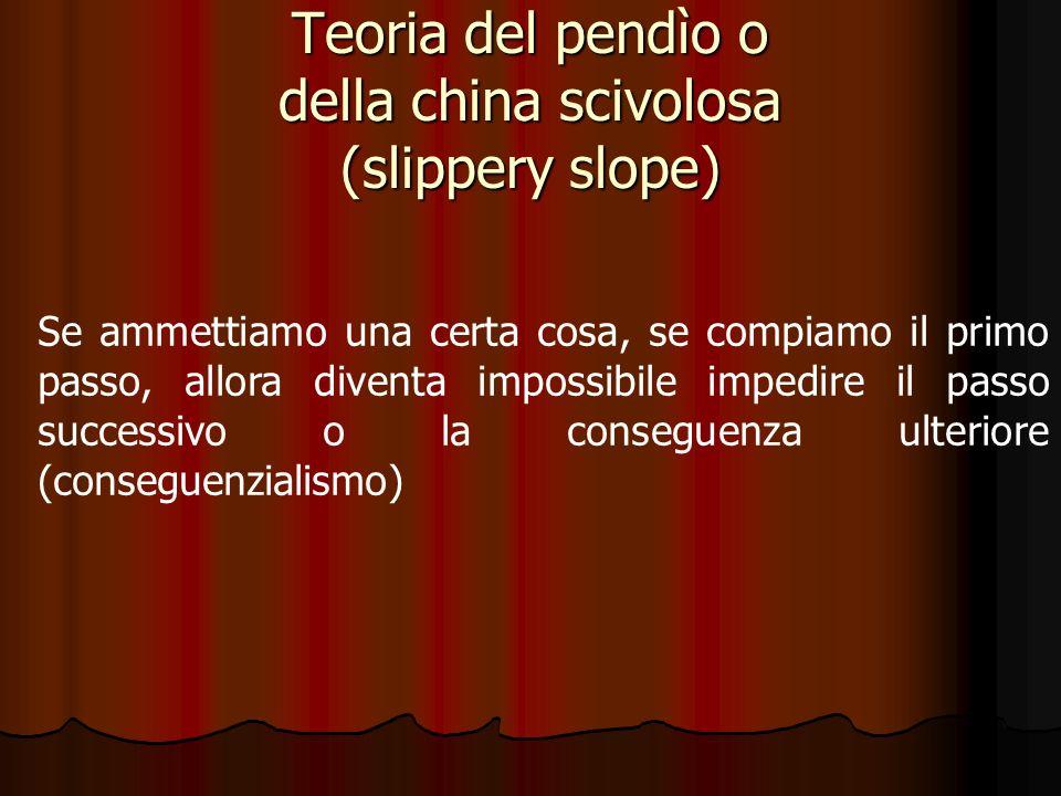 Teoria del pendìo o della china scivolosa (slippery slope) Se ammettiamo una certa cosa, se compiamo il primo passo, allora diventa impossibile impedi