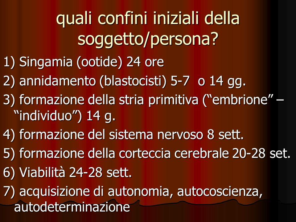 quali confini iniziali della soggetto/persona? 1) Singamia (ootide) 24 ore 2) annidamento (blastocisti) 5-7 o 14 gg. 3) formazione della stria primiti