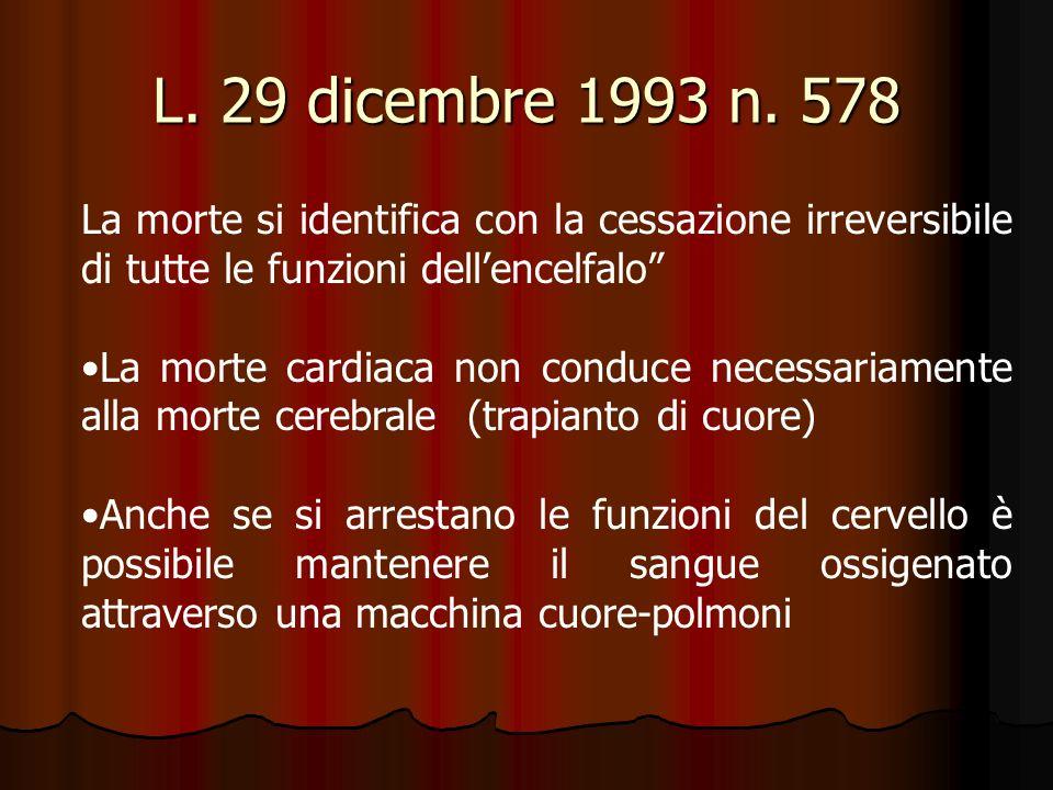 L. 29 dicembre 1993 n. 578 La morte si identifica con la cessazione irreversibile di tutte le funzioni dellencelfalo La morte cardiaca non conduce nec