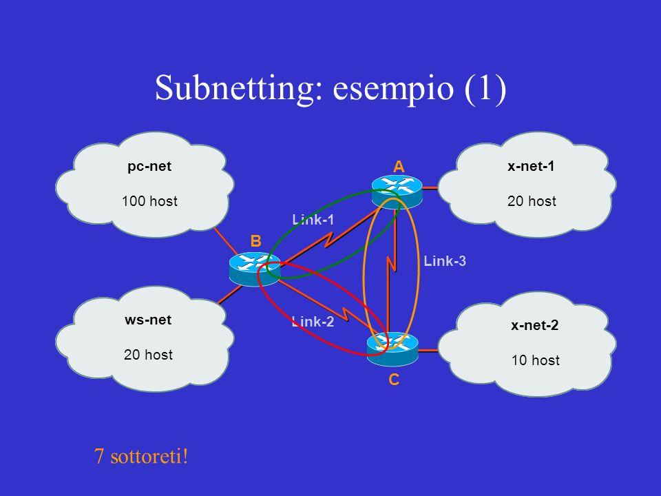Subnetting: esempio (1) A C B pc-net 100 host ws-net 20 host x-net-1 20 host x-net-2 10 host Link-1 Link-2 Link-3 7 sottoreti!