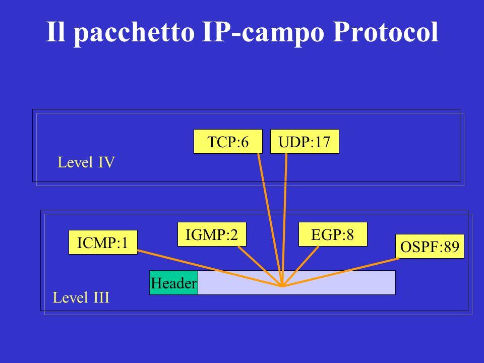 Il pacchetto IP-campo Protocol Level III Header ICMP:1 IGMP:2EGP:8 OSPF:89 TCP:6UDP:17 Level IV