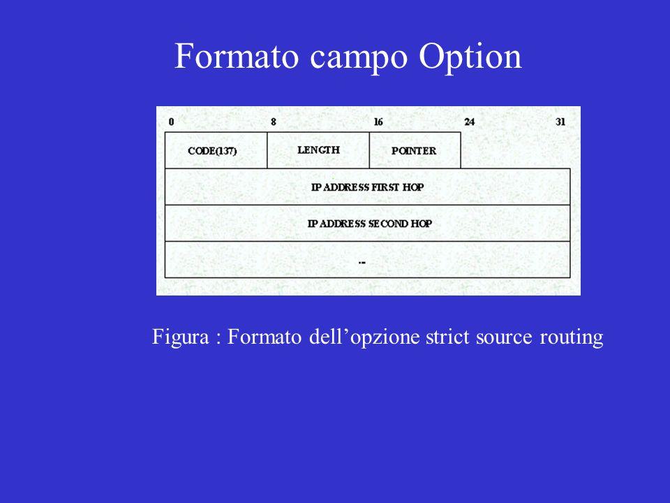 Figura : Formato dellopzione strict source routing Formato campo Option