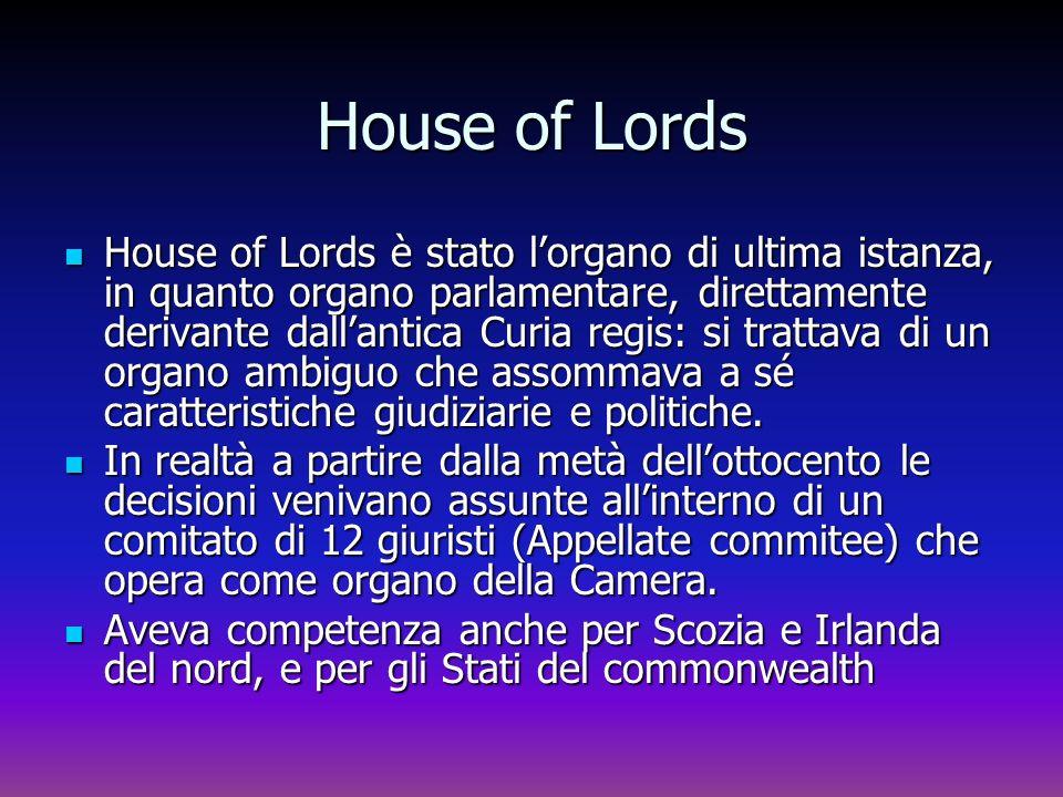 House of Lords House of Lords è stato lorgano di ultima istanza, in quanto organo parlamentare, direttamente derivante dallantica Curia regis: si trat