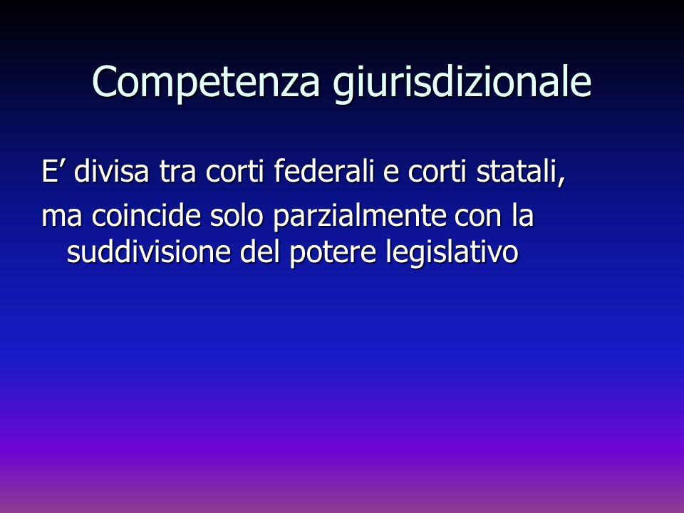 Competenza giurisdizionale E divisa tra corti federali e corti statali, ma coincide solo parzialmente con la suddivisione del potere legislativo