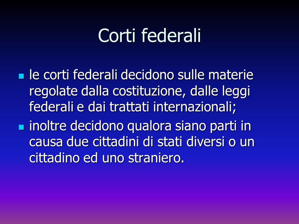 Corti federali le corti federali decidono sulle materie regolate dalla costituzione, dalle leggi federali e dai trattati internazionali; le corti fede