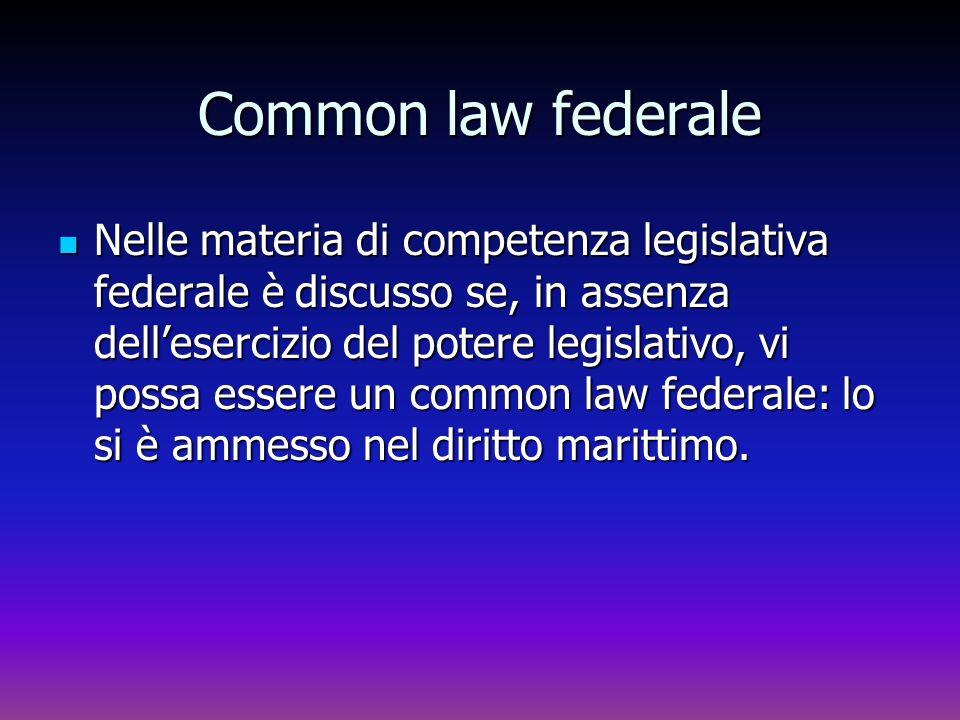 Common law federale Nelle materia di competenza legislativa federale è discusso se, in assenza dellesercizio del potere legislativo, vi possa essere u