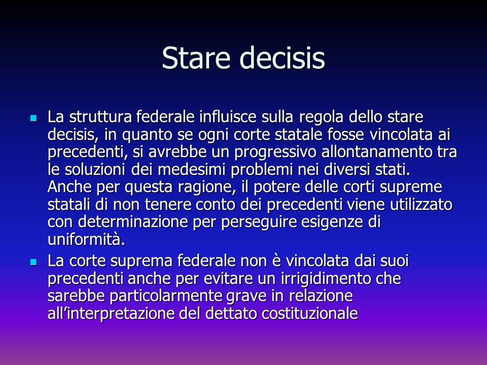 Stare decisis La struttura federale influisce sulla regola dello stare decisis, in quanto se ogni corte statale fosse vincolata ai precedenti, si avre