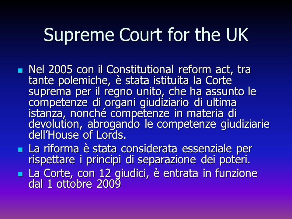 Supreme Court for the UK Nel 2005 con il Constitutional reform act, tra tante polemiche, è stata istituita la Corte suprema per il regno unito, che ha