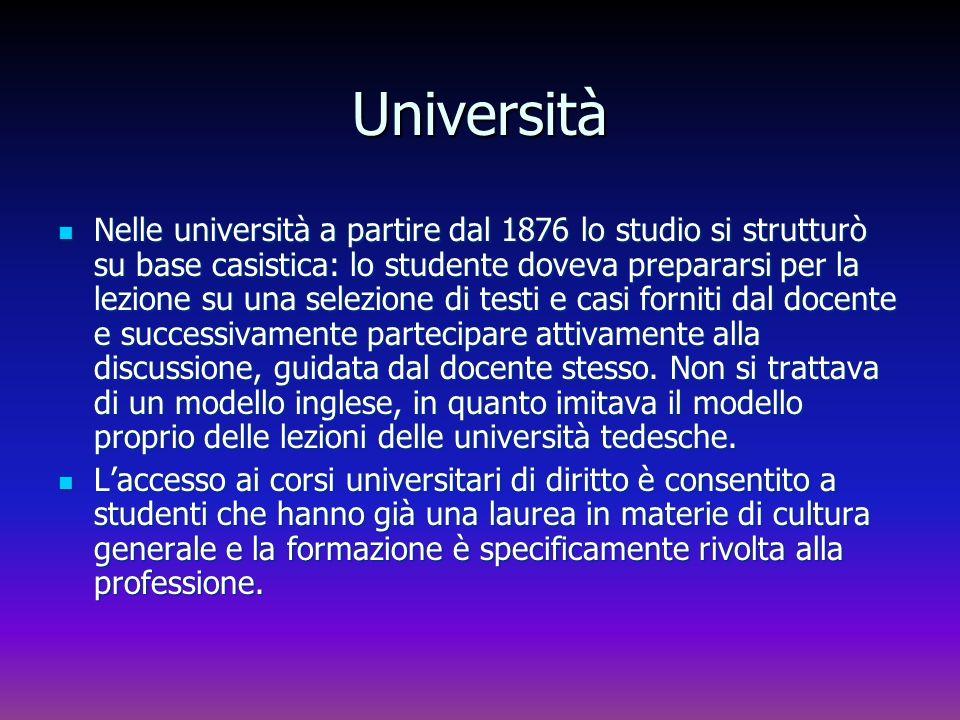 Università Nelle università a partire dal 1876 lo studio si strutturò su base casistica: lo studente doveva prepararsi per la lezione su una selezione