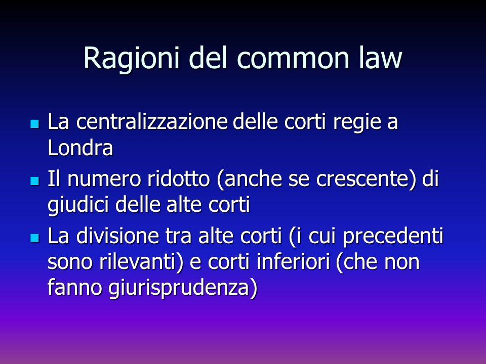 Ragioni del common law La centralizzazione delle corti regie a Londra La centralizzazione delle corti regie a Londra Il numero ridotto (anche se cresc