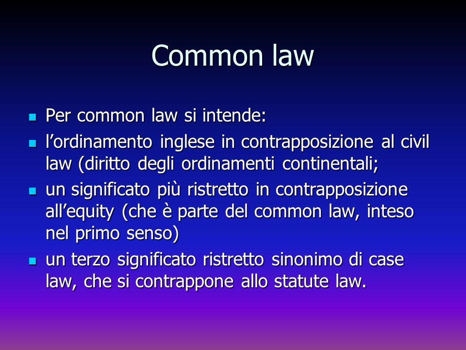 Common law Per common law si intende: Per common law si intende: lordinamento inglese in contrapposizione al civil law (diritto degli ordinamenti cont