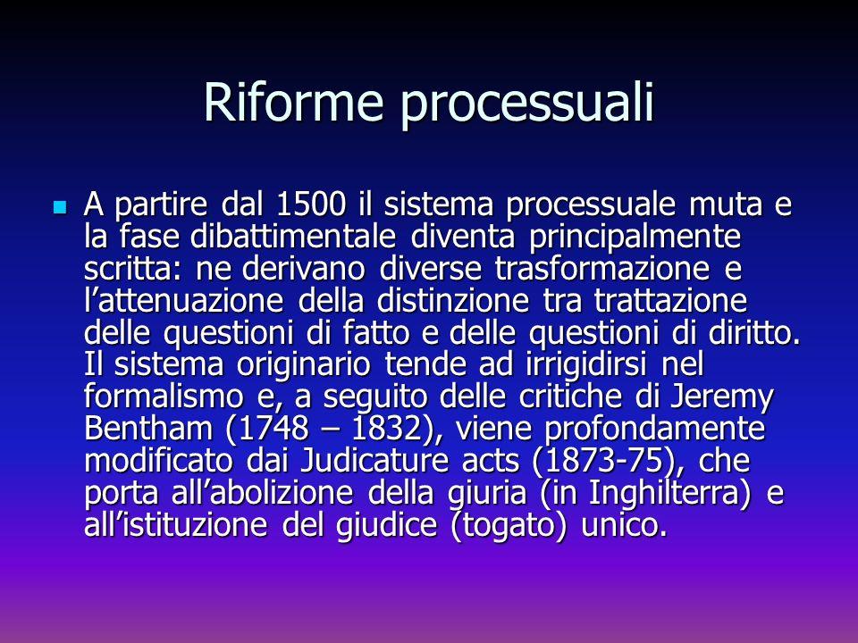 Riforme processuali A partire dal 1500 il sistema processuale muta e la fase dibattimentale diventa principalmente scritta: ne derivano diverse trasfo
