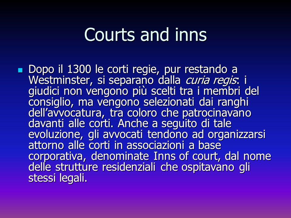 Courts and inns Dopo il 1300 le corti regie, pur restando a Westminster, si separano dalla curia regis: i giudici non vengono più scelti tra i membri