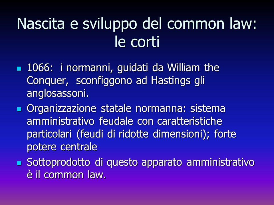 Nascita e sviluppo del common law: le corti 1066: i normanni, guidati da William the Conquer, sconfiggono ad Hastings gli anglosassoni. 1066: i norman