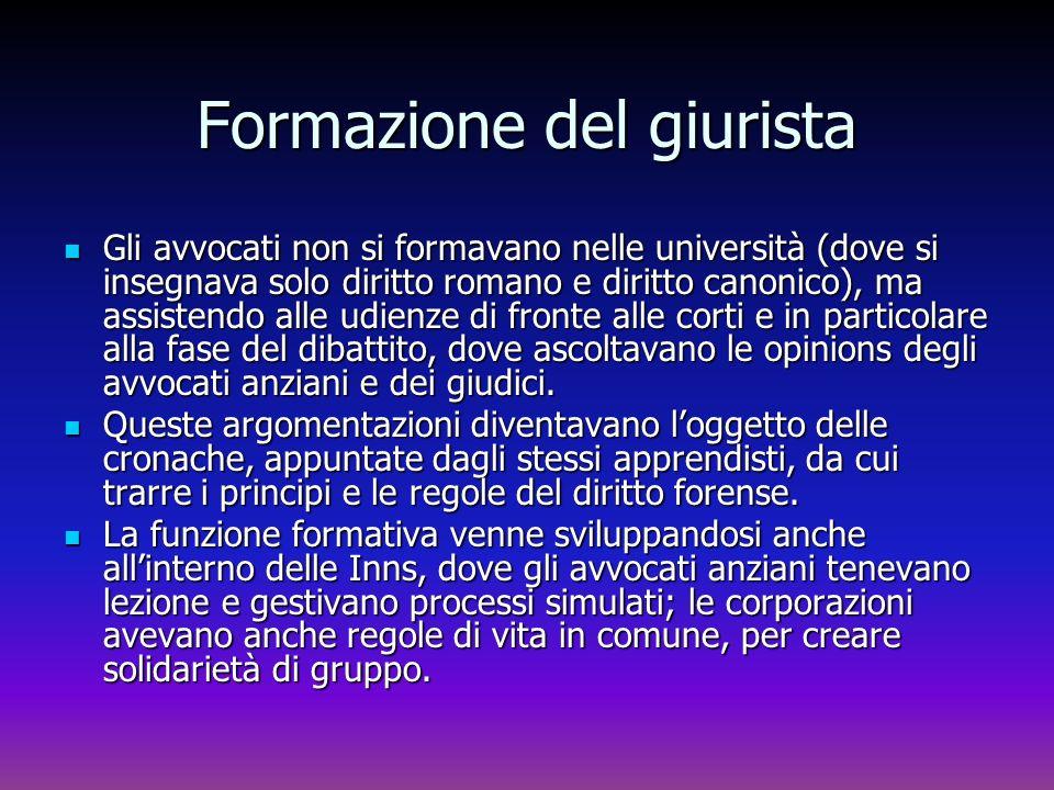 Formazione del giurista Gli avvocati non si formavano nelle università (dove si insegnava solo diritto romano e diritto canonico), ma assistendo alle