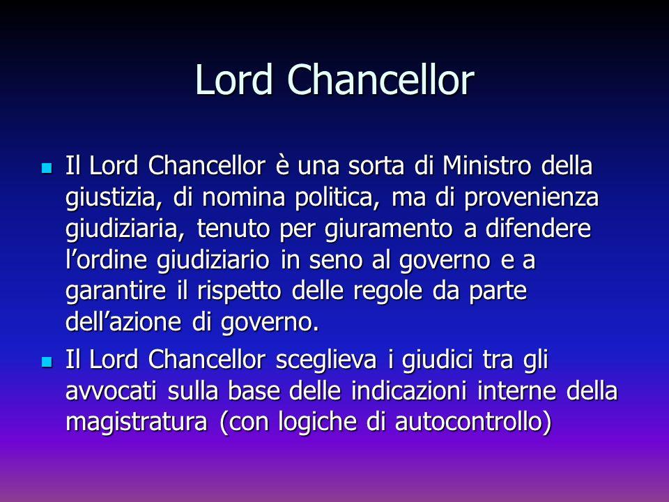 Lord Chancellor Il Lord Chancellor è una sorta di Ministro della giustizia, di nomina politica, ma di provenienza giudiziaria, tenuto per giuramento a