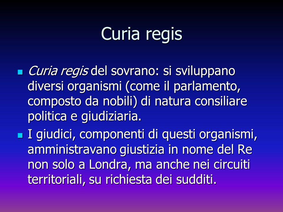 Curia regis Curia regis del sovrano: si sviluppano diversi organismi (come il parlamento, composto da nobili) di natura consiliare politica e giudizia