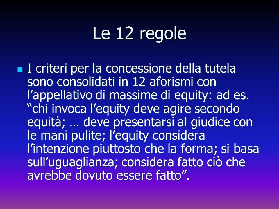 Le 12 regole I criteri per la concessione della tutela sono consolidati in 12 aforismi con lappellativo di massime di equity: ad es. chi invoca lequit