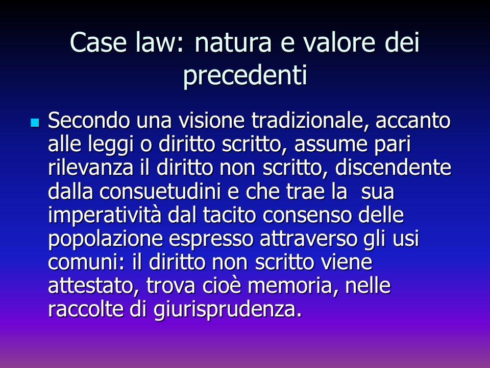Case law: natura e valore dei precedenti Secondo una visione tradizionale, accanto alle leggi o diritto scritto, assume pari rilevanza il diritto non