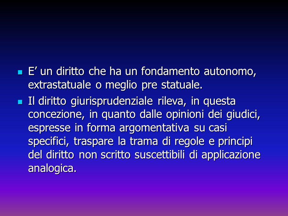 E un diritto che ha un fondamento autonomo, extrastatuale o meglio pre statuale. E un diritto che ha un fondamento autonomo, extrastatuale o meglio pr