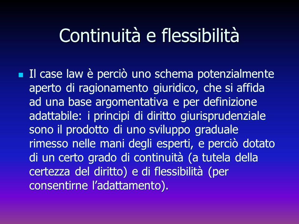 Continuità e flessibilità Il case law è perciò uno schema potenzialmente aperto di ragionamento giuridico, che si affida ad una base argomentativa e p
