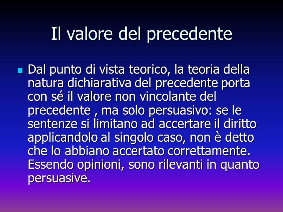 Il valore del precedente Dal punto di vista teorico, la teoria della natura dichiarativa del precedente porta con sé il valore non vincolante del prec