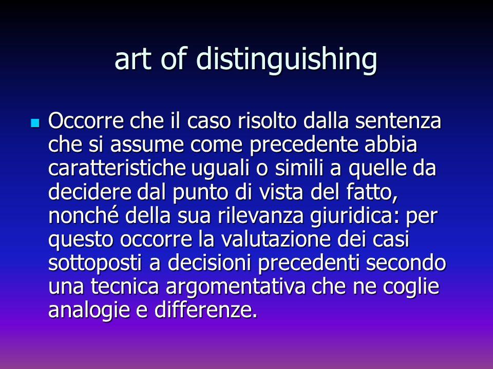 art of distinguishing Occorre che il caso risolto dalla sentenza che si assume come precedente abbia caratteristiche uguali o simili a quelle da decid