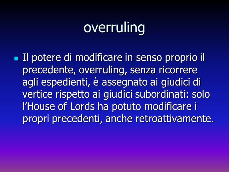 overruling Il potere di modificare in senso proprio il precedente, overruling, senza ricorrere agli espedienti, è assegnato ai giudici di vertice risp