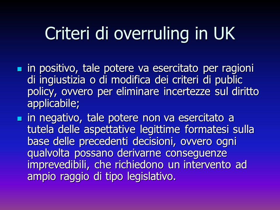 Criteri di overruling in UK in positivo, tale potere va esercitato per ragioni di ingiustizia o di modifica dei criteri di public policy, ovvero per e