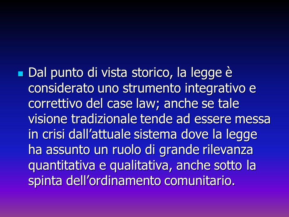 Dal punto di vista storico, la legge è considerato uno strumento integrativo e correttivo del case law; anche se tale visione tradizionale tende ad es