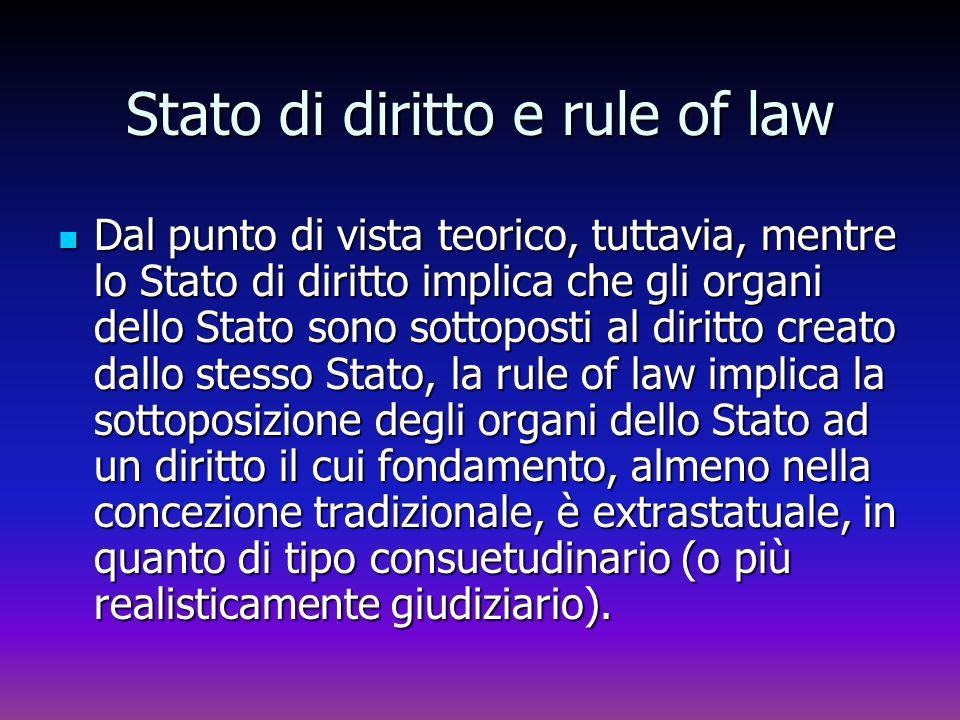 Stato di diritto e rule of law Dal punto di vista teorico, tuttavia, mentre lo Stato di diritto implica che gli organi dello Stato sono sottoposti al