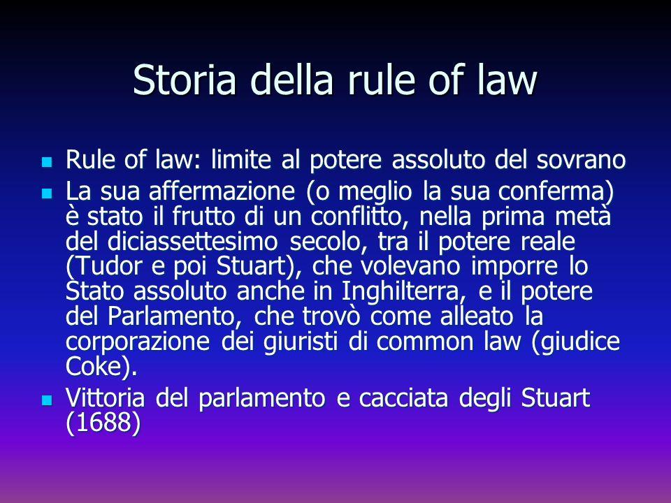 Storia della rule of law Rule of law: limite al potere assoluto del sovrano Rule of law: limite al potere assoluto del sovrano La sua affermazione (o