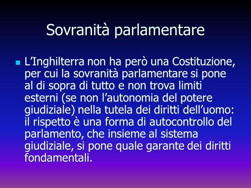 Sovranità parlamentare LInghilterra non ha però una Costituzione, per cui la sovranità parlamentare si pone al di sopra di tutto e non trova limiti es