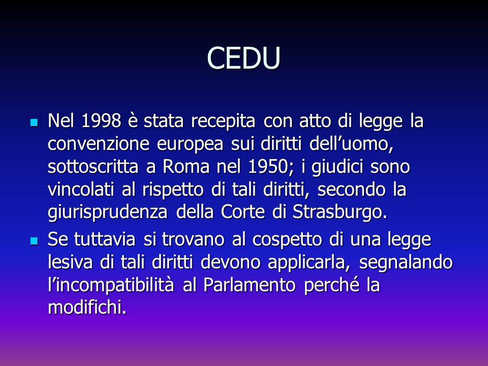 CEDU Nel 1998 è stata recepita con atto di legge la convenzione europea sui diritti delluomo, sottoscritta a Roma nel 1950; i giudici sono vincolati a