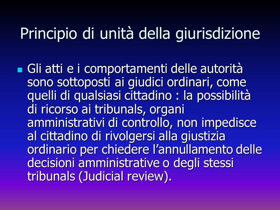 Principio di unità della giurisdizione Gli atti e i comportamenti delle autorità sono sottoposti ai giudici ordinari, come quelli di qualsiasi cittadi
