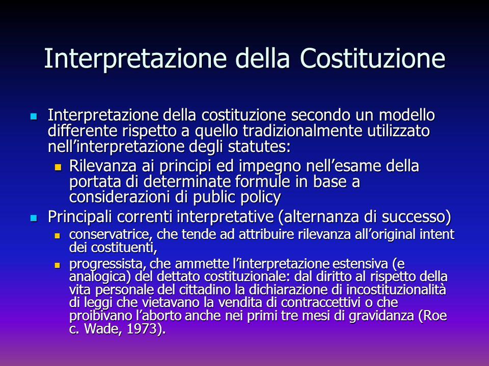 Interpretazione della Costituzione Interpretazione della costituzione secondo un modello differente rispetto a quello tradizionalmente utilizzato nell