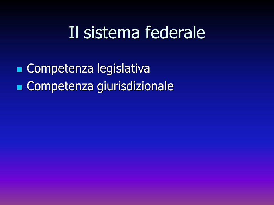 Il sistema federale Competenza legislativa Competenza legislativa Competenza giurisdizionale Competenza giurisdizionale