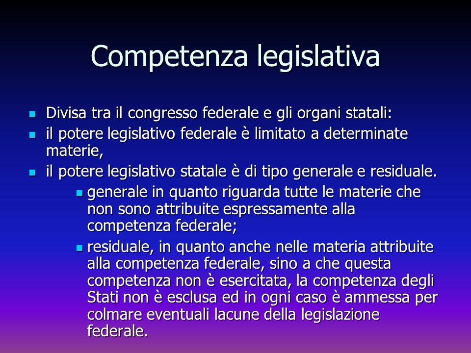 Competenza legislativa Divisa tra il congresso federale e gli organi statali: Divisa tra il congresso federale e gli organi statali: il potere legisla