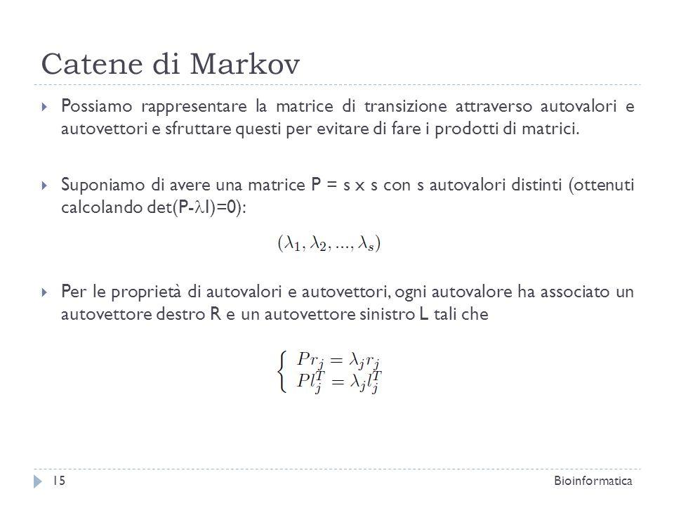 Catene di Markov Possiamo rappresentare la matrice di transizione attraverso autovalori e autovettori e sfruttare questi per evitare di fare i prodott