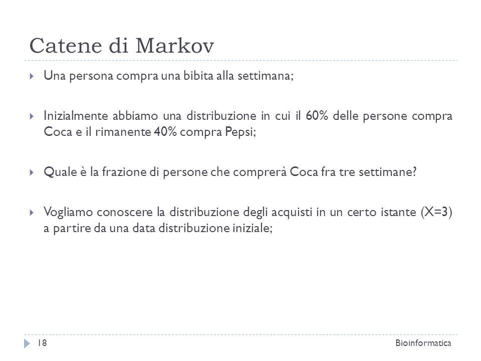 Catene di Markov Una persona compra una bibita alla settimana; Inizialmente abbiamo una distribuzione in cui il 60% delle persone compra Coca e il rim