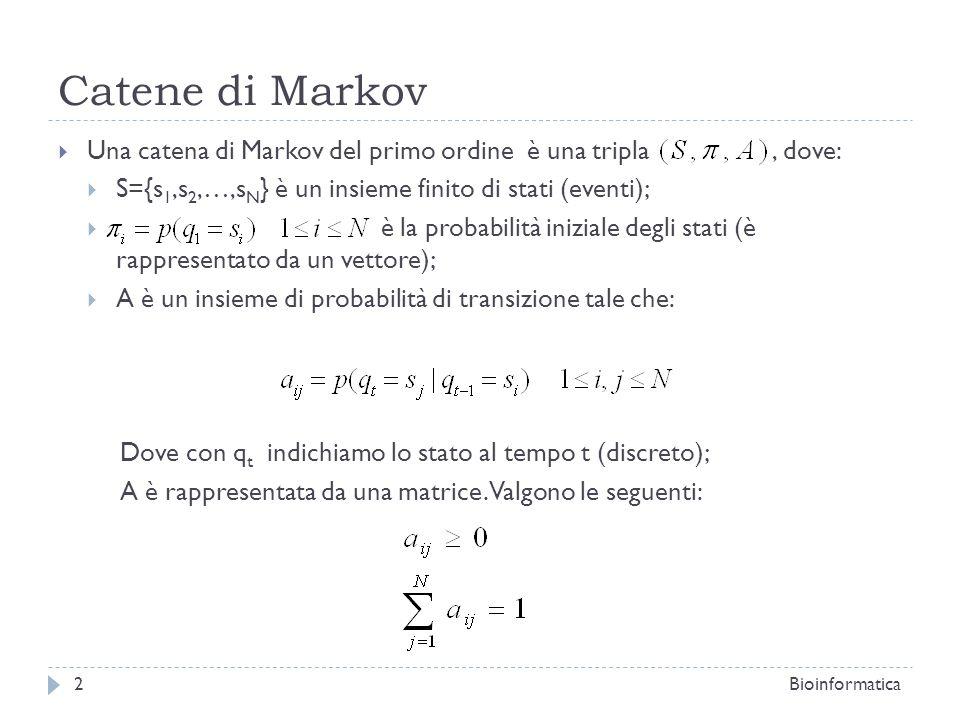 Catene di Markov La catene di Markov del primo ordine sono anche dette catene di Markov memoryless dato che la probabilità che avvenga un evento dipende solo dallevento che si è verificato allistante precedente; In una catena di Markov di ordine k la probabilità che avvenga un evento dipende dai k precedenti stati; Bioinformatica3