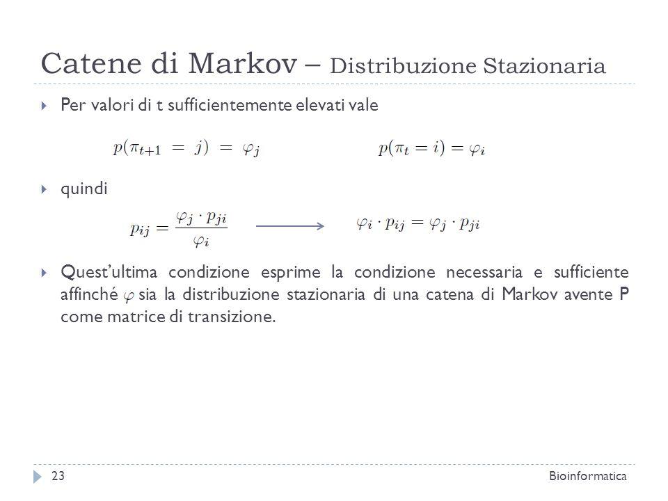 Catene di Markov – Distribuzione Stazionaria Per valori di t sufficientemente elevati vale quindi Questultima condizione esprime la condizione necessa