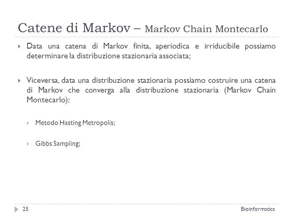 Catene di Markov – Markov Chain Montecarlo Data una catena di Markov finita, aperiodica e irriducibile possiamo determinare la distribuzione stazionar