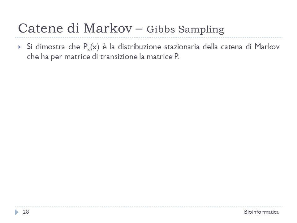 Catene di Markov – Gibbs Sampling Si dimostra che P x (x) è la distribuzione stazionaria della catena di Markov che ha per matrice di transizione la m