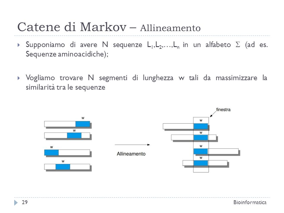 Catene di Markov – Allineamento Supponiamo di avere N sequenze L 1,L 2,…,L n in un alfabeto (ad es. Sequenze aminoacidiche); Vogliamo trovare N segmen