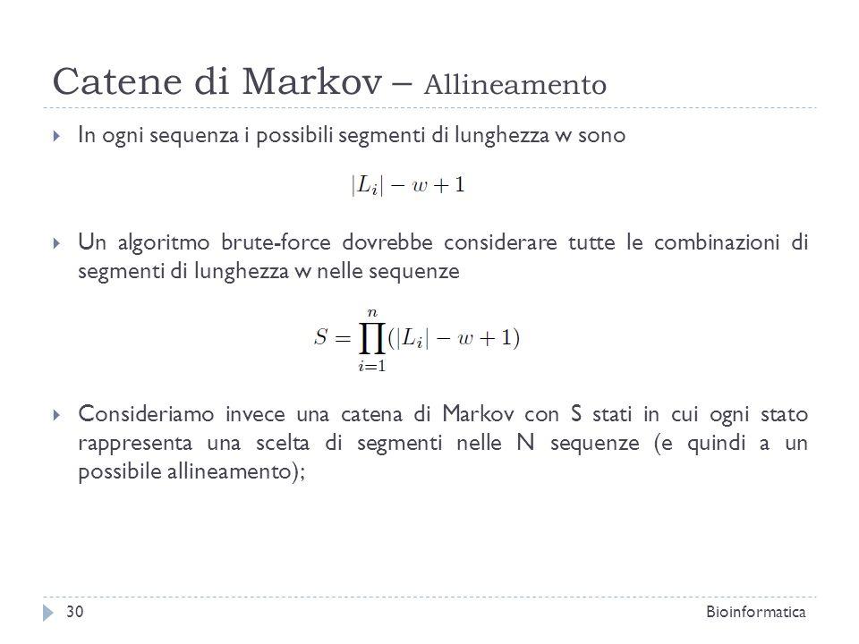 Catene di Markov – Allineamento In ogni sequenza i possibili segmenti di lunghezza w sono Un algoritmo brute-force dovrebbe considerare tutte le combi